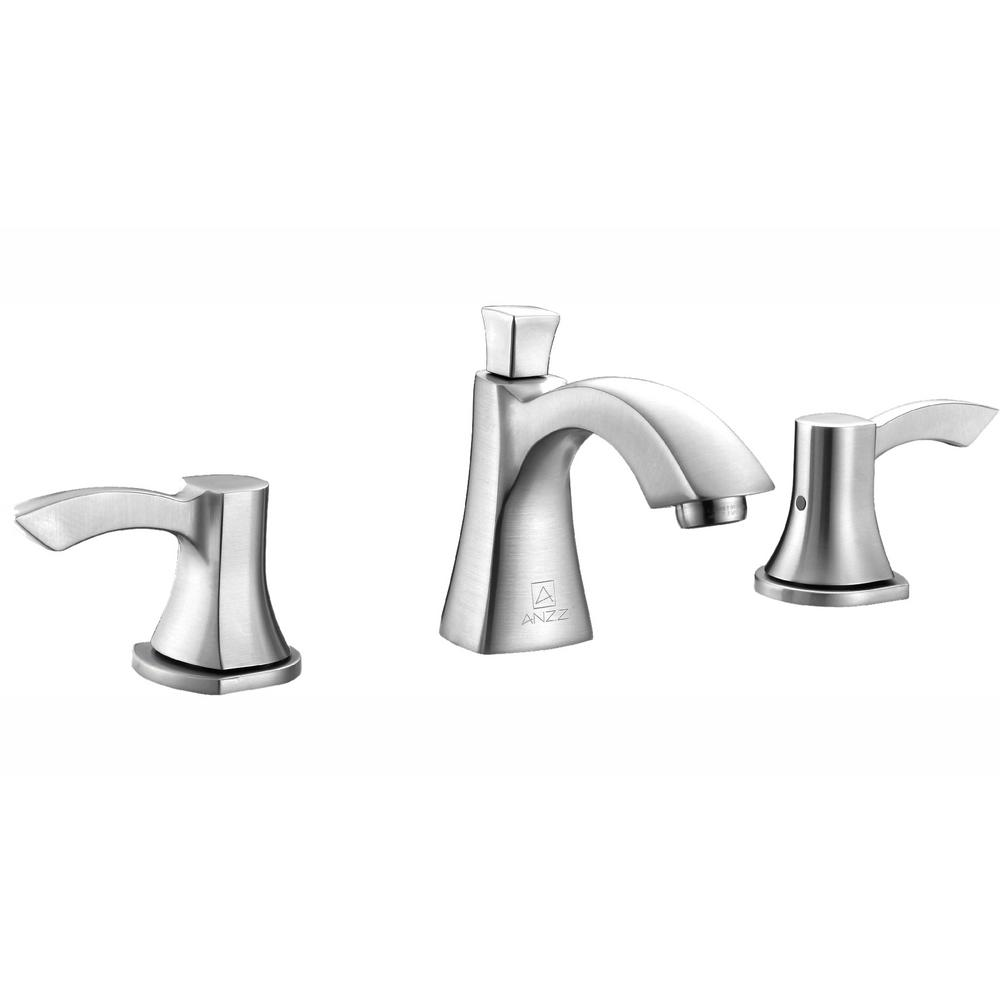 ANZZI Sonata Series 8 in. Widespread 2-Handle Mid-Arc Bathroom Faucet in Brushed Nickel