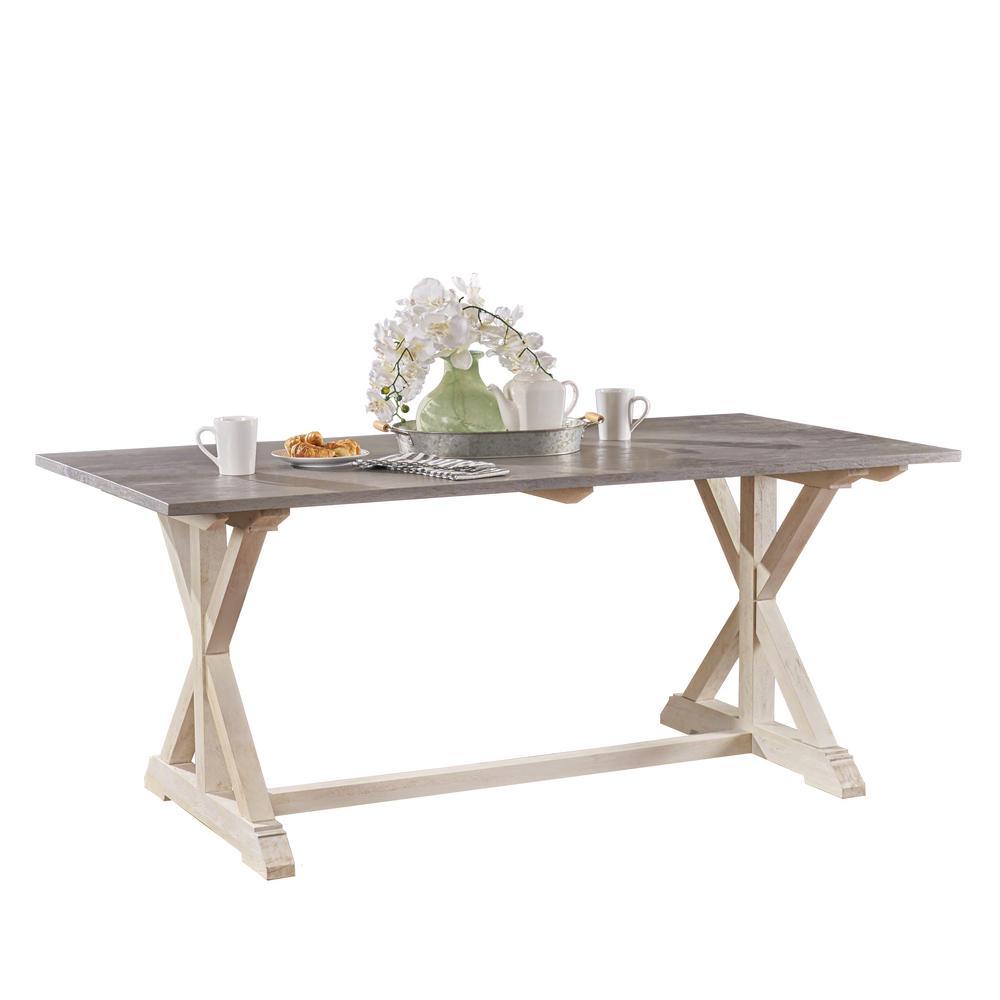 Karmen Rectangular Gray and White Mango Wood Dining Table