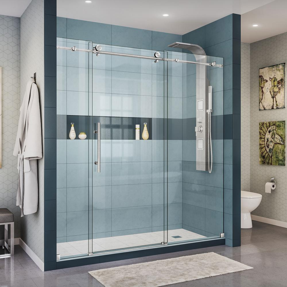Dreamline Enigma X 68 In To 72 In X 76 In Frameless Sliding Shower Door In Brushed Stainless