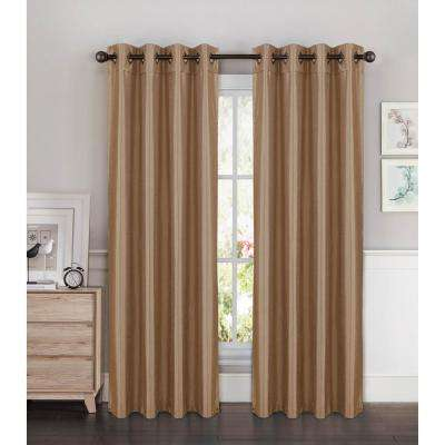 Semi-Opaque Kim Faux Silk Extra Wide 96 in. L Grommet Curtain Panel Pair, Taupe (Set of 2)