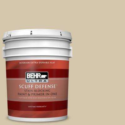 5 Gal. #YL-W11 Khaki Shade Extra Durable Flat Interior Paint and Primer in One