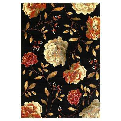 Roses to Riches Black 5 ft. 3 in. x 7 ft. 7 in. Area Rug