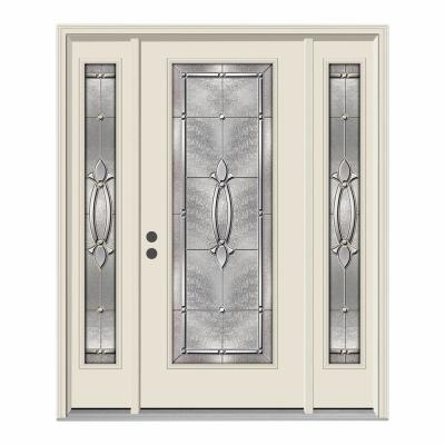 66 in. x 80 in. Full Lite Blakely Primed Steel Prehung Right-Hand Inswing Front Door with Sidelites