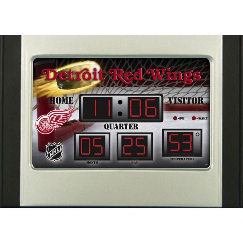 null Detroit Red Wings 6.5 in. x 9 in. Scoreboard Alarm Clock with Temperature