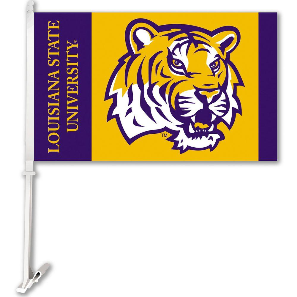 BSI Products NCAA 11 in. x 18 in. LSU Tigers 2-Sided Car Flag with 1-1/2 ft. Plastic Flagpole (Set of 2)
