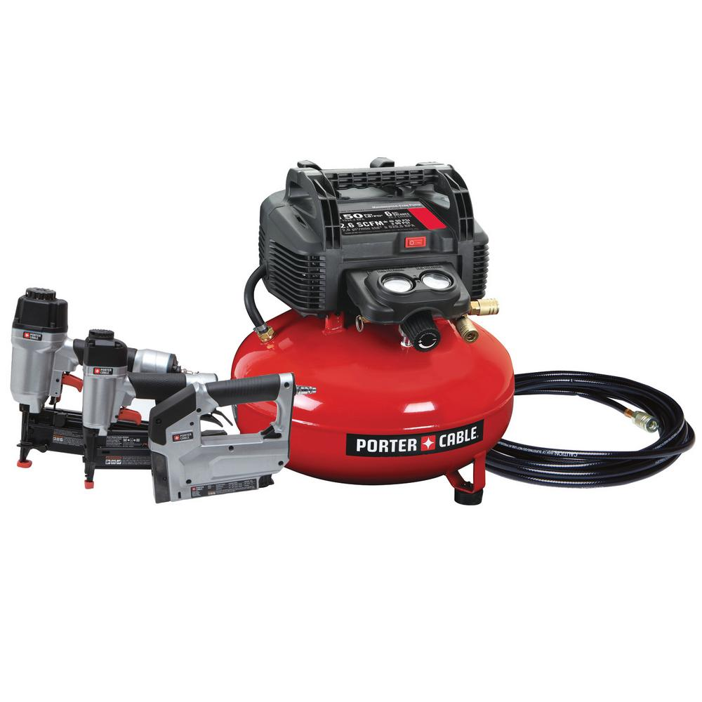 PORTERCABLE Porter-Cable 6 Gal. 150 PSI Portable Electric Air Compressor, 16-Gauge Nailer, 18-Gauge Nailer and 3/8 in. Stapler Combo Kit (3-Tool)