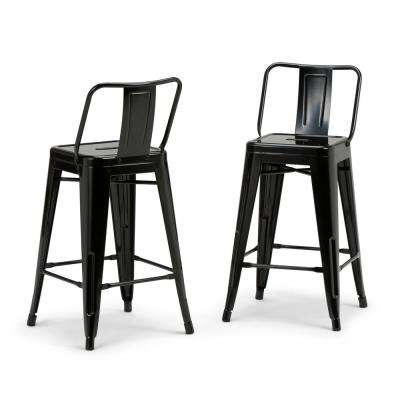 Rayne 24 in. Black Metal Counter Height Stool (Set of 2)