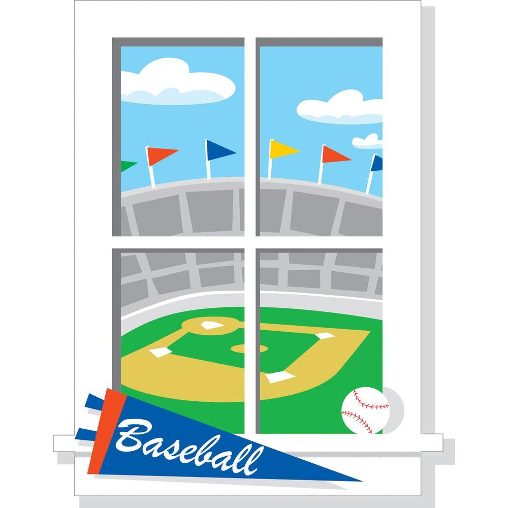RoomMates 32 in. x 25 in. Play Ball Peel & Stick Window Decal