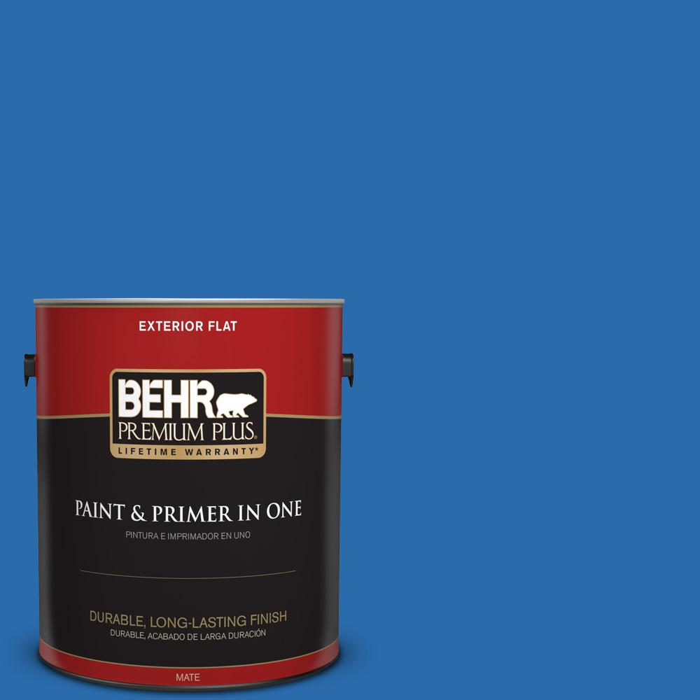1 gal. #MQ4-24 Electric Blue Flat Exterior Paint and Primer in