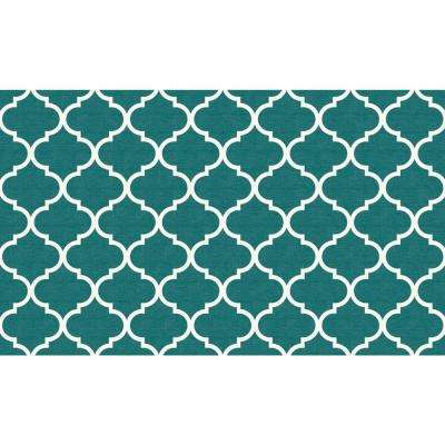 Washable Moroccan Trellis Teal 3 ft. x 5 ft. Accent Rug