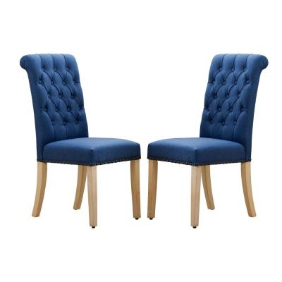 Dark Blue Luxury Fabric Dining Parsons Chair with Copper Nails and Solid Wood Feet (Set of 2)