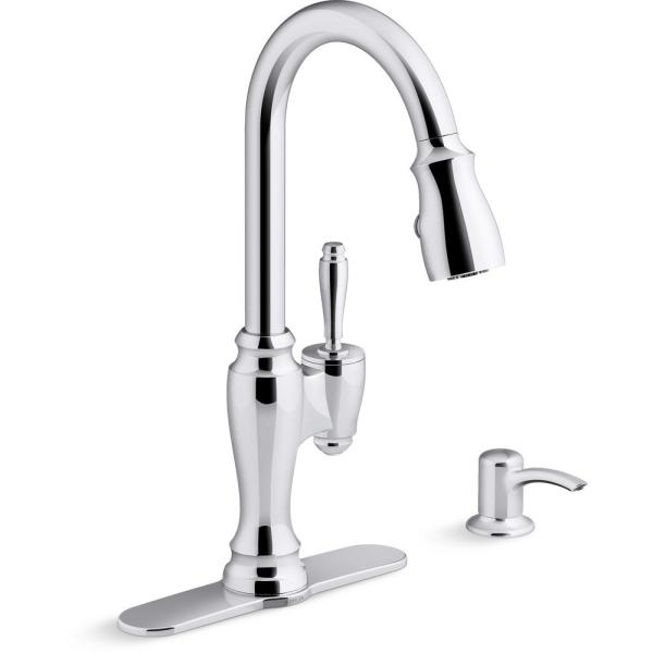 Arsdale Single-Handle Pull-Down Sprayer Kitchen Faucet with Soap/Lotion Dispenser in Polished Chrome