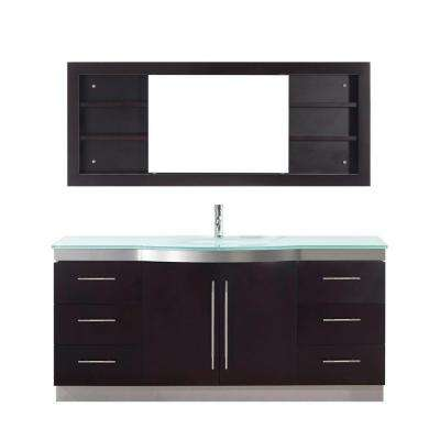 Dinara Single 72 in. Vanity in Chai with Glass Vanity Top in Chai and Mirror