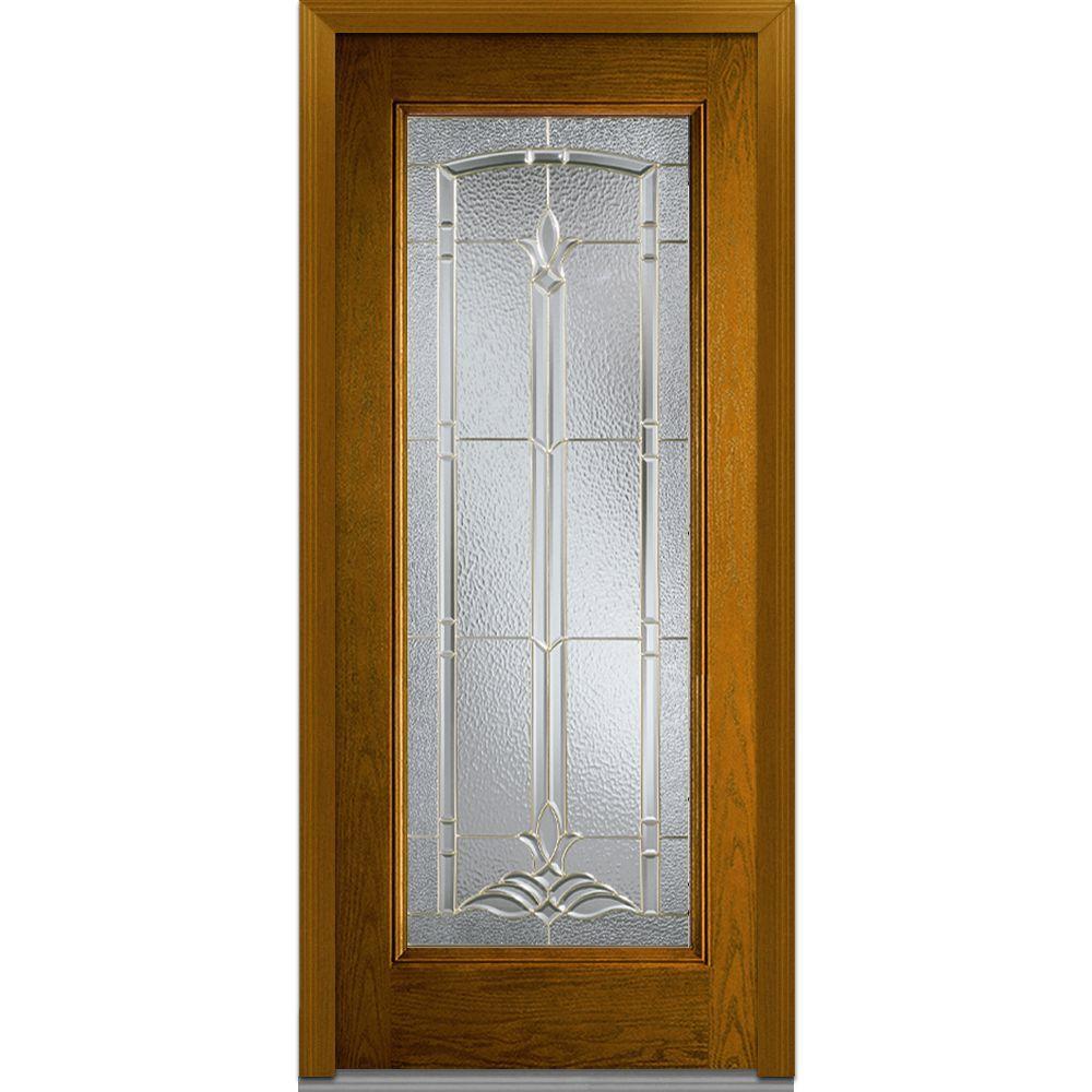 Mmi Door 36 In X 80 In Bristol Left Hand Full Lite Classic Stained Fiberglass Oak Prehung