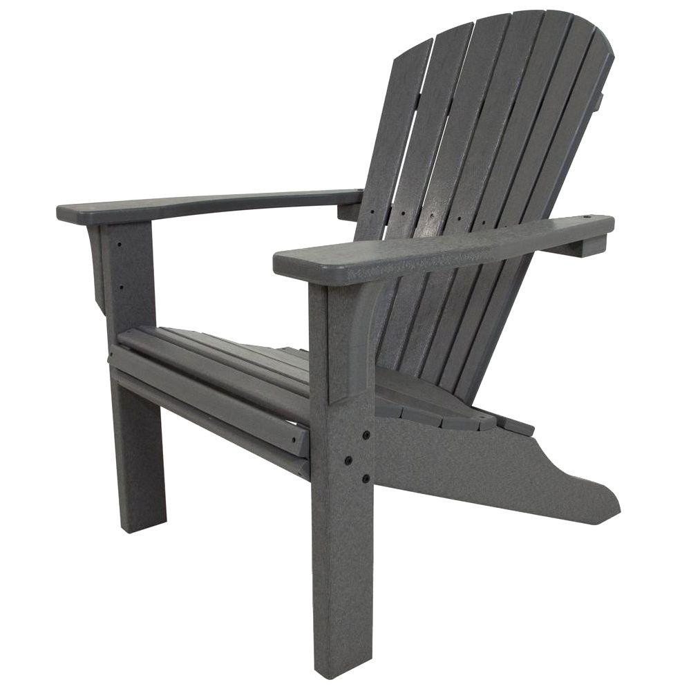 POLYWOOD Seashell Slate Grey Plastic Patio Adirondack Chair