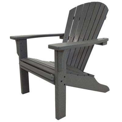 Seashell Slate Grey Plastic Patio Adirondack Chair