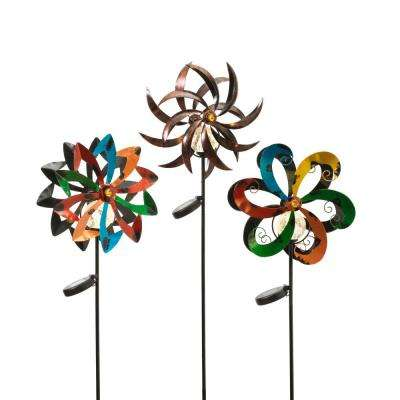 43 in. Tall Solar-Powered Metal Yard Stakes with Wind Spinners (3-Set)
