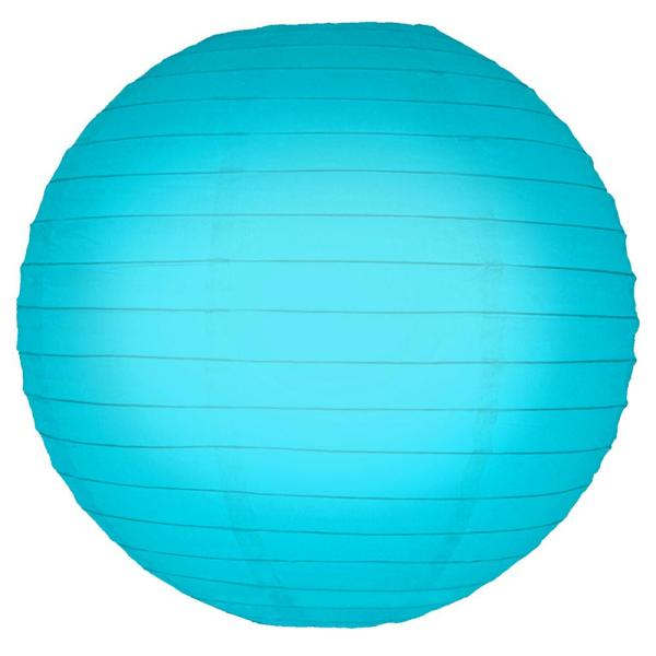 Lumabase 10 in. Round Turquoise Paper Lanterns (5-Count) 78505