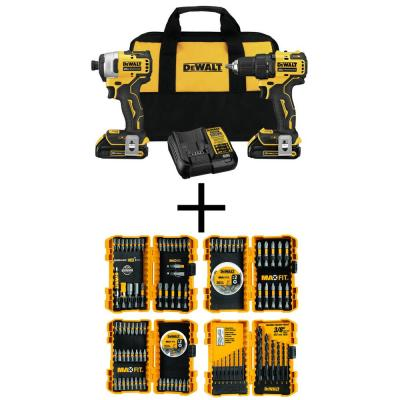 20-Volt MAX Lithium-Ion Cordless 1/2 in. Drill/Driver Kit with Bonus MAXFIT Screwdriving and Drill Bit Set (140-Piece)