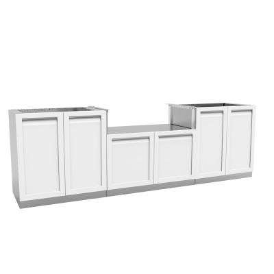 Stainless Steel 3-Piece104x35x23.5 in. Outdoor Kitchen BBQ Cabinet Set with Powder Coated Doors in White