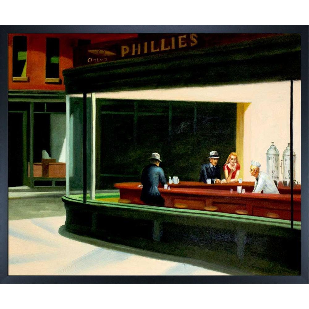 LA PASTICHE Nighthawks, 1942 with Studio Black Woodby Edward Hopper Framed Abstract Wall Art 21.5 in. x 25.5 in., Multi-Colored was $1217.0 now $409.23 (66.0% off)