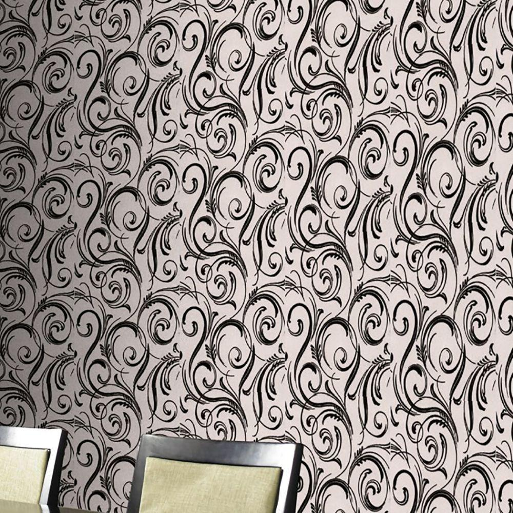 Graham & Brown Swurly Wurly Black Wallpaper