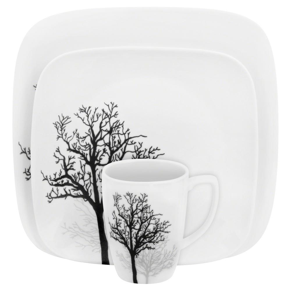 Square 16-Piece Seasonal Black Trees Glass Dinnerware Set (Service for 4)