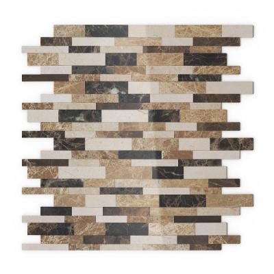 Amber Brown 4 in. x 4 in. Stone Self-Adhesive Wall Mosaic Tile Sample (0.11 sq. ft./Each)