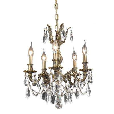 5-Light Antique Bronze Chandelier with Clear Crystal