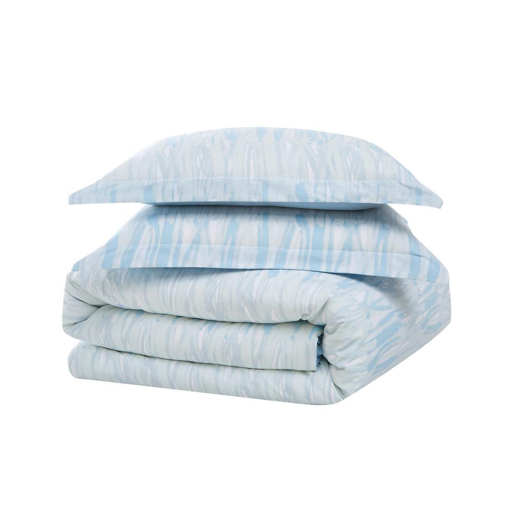 Trevor 3-Piece Blue and White Cotton King Comforter Set