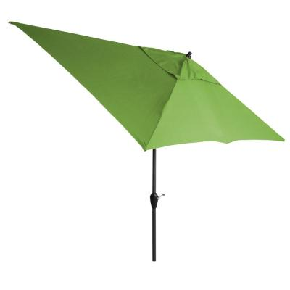 10 ft. x 6 ft. Aluminum Market Patio Umbrella in Fern with Push-Button Tilt