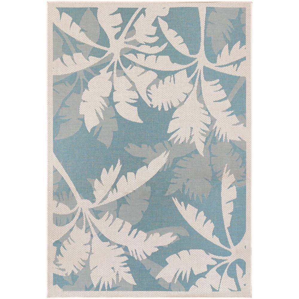 Monaco Coastal Flora Ivory-Turquoise 6 ft. x 9 ft. Indoor/Outdoor Area Rug