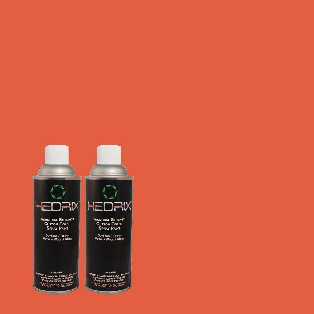 Hedrix 11 oz. Match of 180B-6 Fiery Red Gloss Custom Spray Paint (2-Pack)