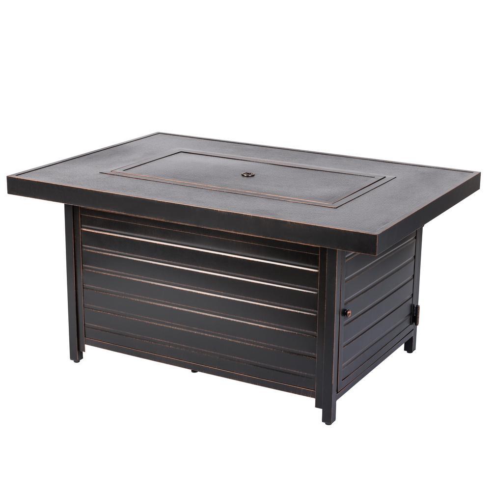Finn 48 in. x 24 in. Rectangle Aluminum Propane Fire Pit Table in Antique Bronze