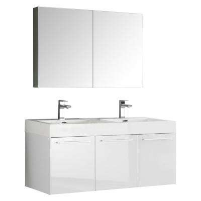 Vista 48 in. Vanity in White with Acrylic Vanity Top in White with White Basins and Mirrored Medicine Cabinet