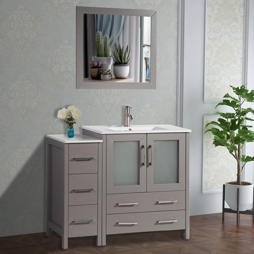 Vanity Art Brescia 42 in. W x 18 in. D x 36 in. H Bathroom Vanity in Grey with Single Basin Vanity Top in White Ceramic and Mirror