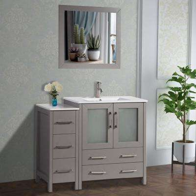Brescia 42 in. W x 18 in. D x 36 in. H Bathroom Vanity in Grey with Single Basin Vanity Top in White Ceramic and Mirror