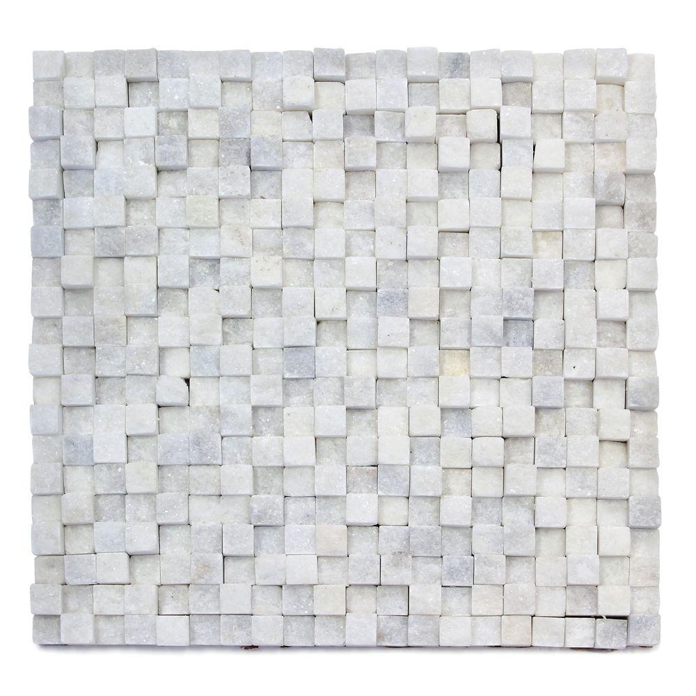 Solistone Cubist Salon 12 in. x 12 in. x 22.2 mm Marble Mesh-Mounted Mosaic Wall Tile (5 sq. ft. / case)