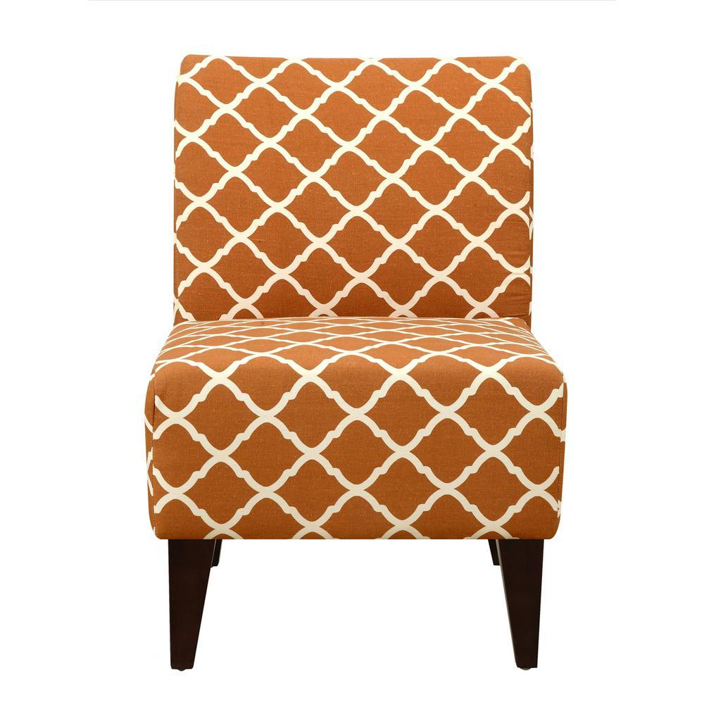 North Accent Slipper Orange Pattern Side Chair