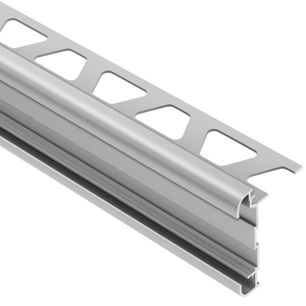 Rondec-CT Satin Anodized Aluminum 1/2 in. x 8 ft. 2-1/2 in. Metal Double-Rail Bullnose Tile Edging Trim