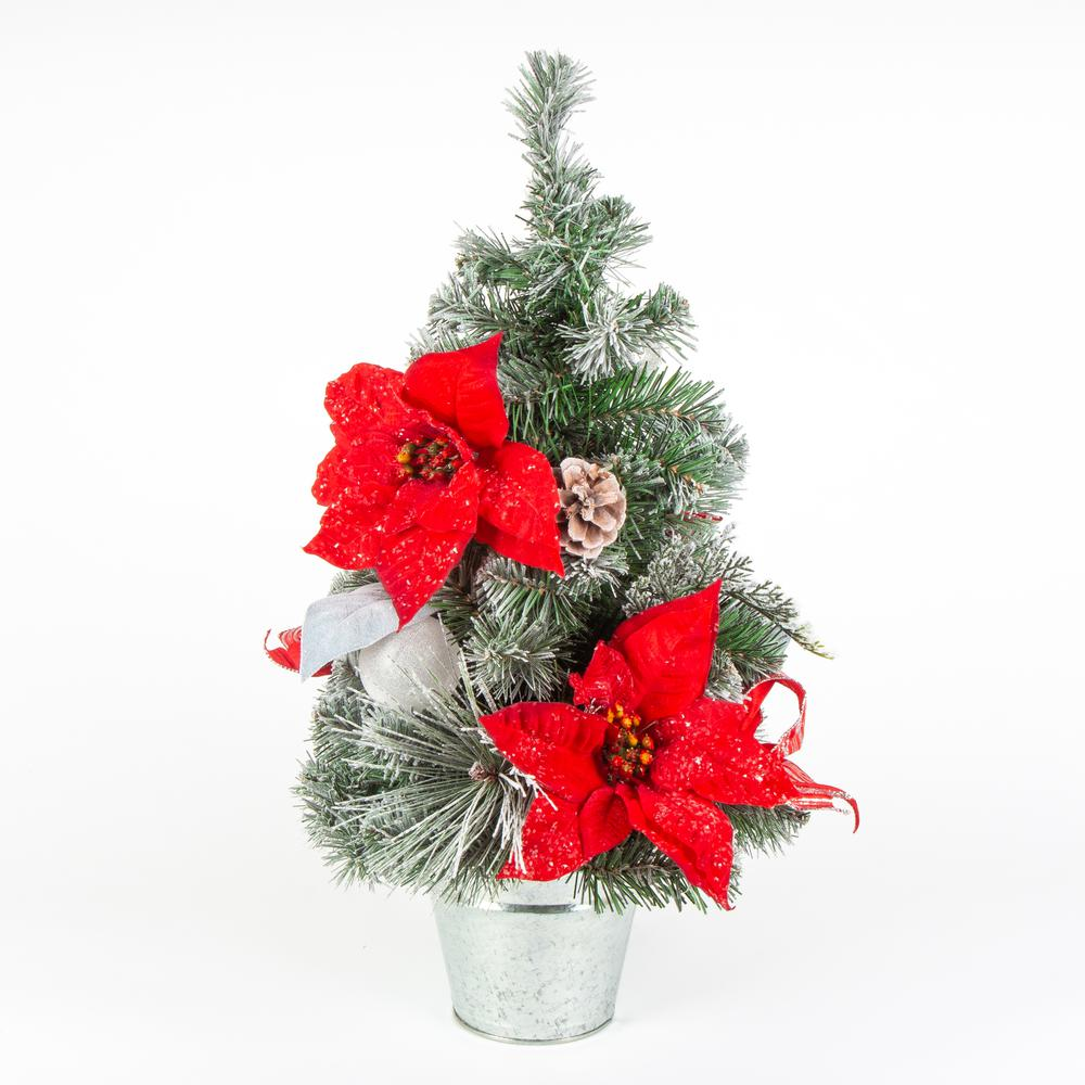 Home Accents Holiday 24 in. Snowy Pine Table Top Tree with Red Balls and Bow
