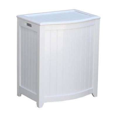 White Wainscot Style Bowed Front Laundry Hamper