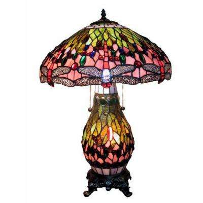 26 in. Dragonfly Multicolored Brown Table Lamp