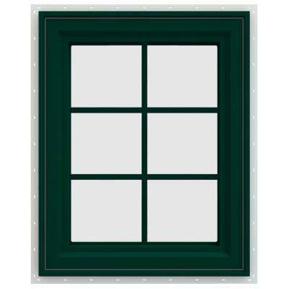 23.5 in. x 29.5 in. V-4500 Series Left-Hand Casement Vinyl Window with Grids - Green
