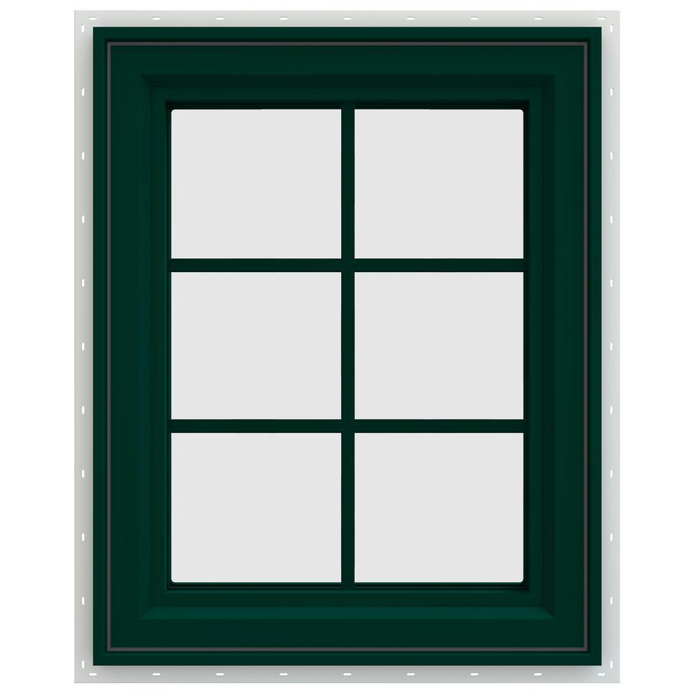 23.5 in. x 35.5 in. V-4500 Series Left-Hand Casement Vinyl Window with Grids - Green