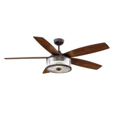 56 in. LED Indoor/Outdoor English Bronze Ceiling Fan