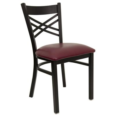 Hercules Series Black X Back Metal Restaurant Chair with Burgundy Vinyl Seat