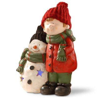 15 in. Lighted Boy and Snowman Decor