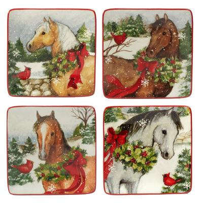 Christmas on the Farm by Susan Winget 6 in. Canape Plate (Set of 4)