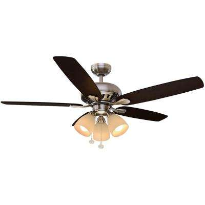 Rockport 52 in. Indoor Brushed Nickel Ceiling Fan with Light Kit